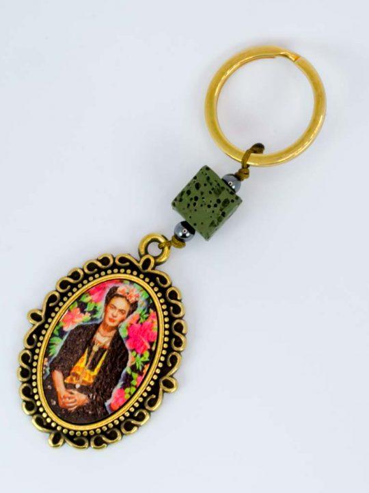 Χειροποίητο Μπρελόκ με Λάβα Φρίντα Κάλο Frida Kahlo