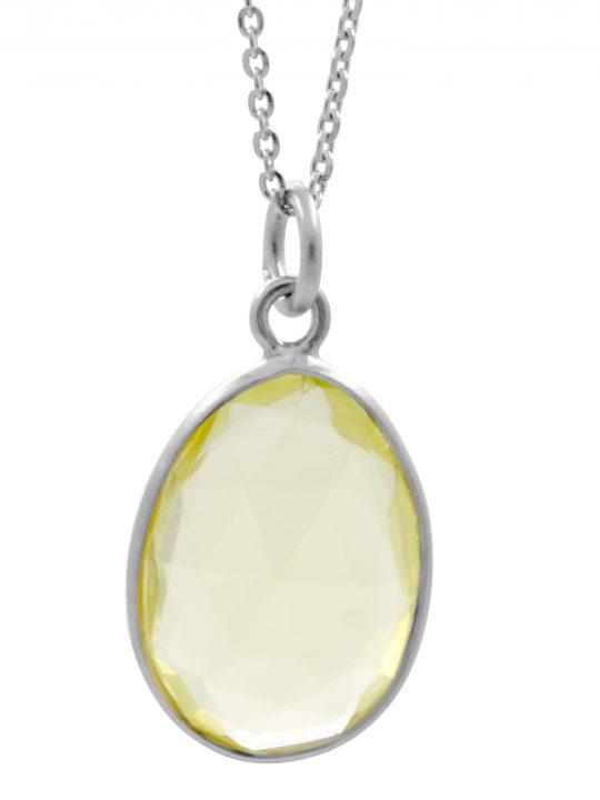 Μενταγιόν Ορυκτό Χαλαζίας Lemon Quartz Ασήμι 925°