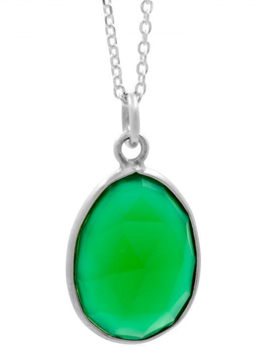 Μενταγιόν Ορυκτό Πράσινος Όνυχας Ασήμι 925°