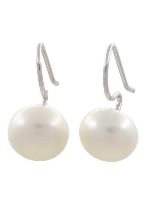 Σκουλαρίκια Λευκό Μαργαριτάρι Γλυκού Νερού Ασήμι 925°