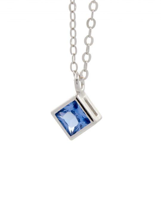 Μενταγιόν Μπλε Τετράγωνο Ζιργκόν Ασήμι 925°