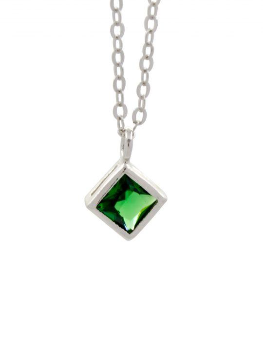 Μενταγιόν Πράσινο Τετράγωνο Ζιργκόν Ασήμι 925°