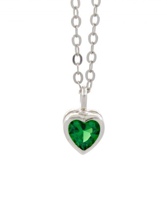 Μενταγιόν Πράσινο Καρδιά Ζιργκόν Ασήμι 925°