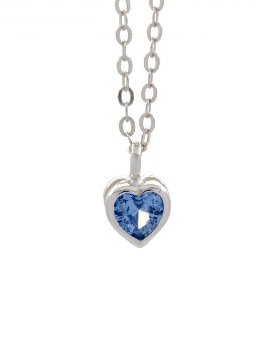 Μενταγιόν Μπλε Καρδιά Ζιργκόν Ασήμι 925°